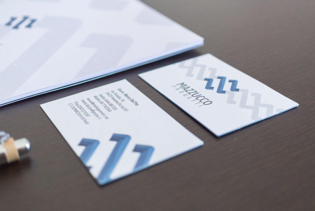 biglietti da visita con la nuova grafica Mazzucco • Dal Prà Progetti