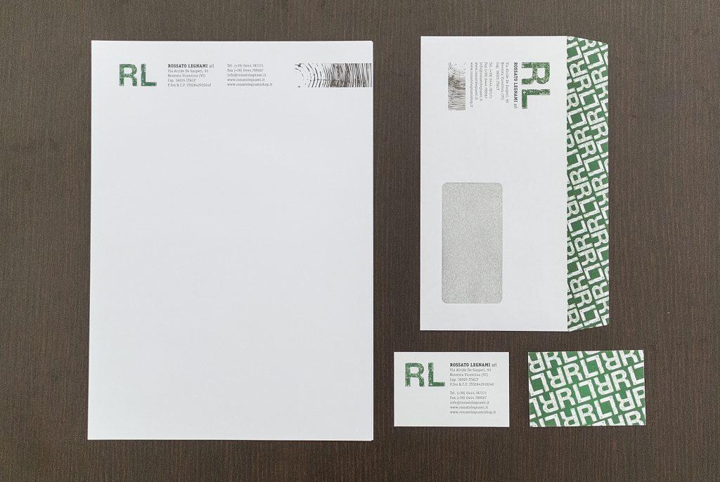 coordinato di stampa Rossato Legnami con nuova grafica e logo